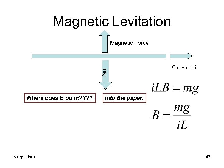 Magnetic Levitation Magnetic Force mg Where does B point? ? Magnetism Current = i