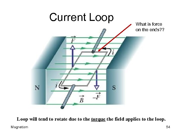 Current Loop What is force on the ends? ? Loop will tend to rotate