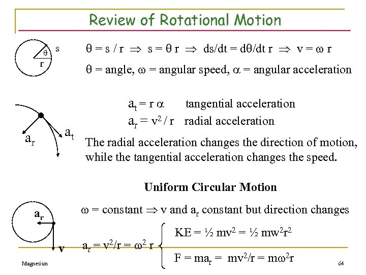Review of Rotational Motion = s / r s = r ds/dt = d