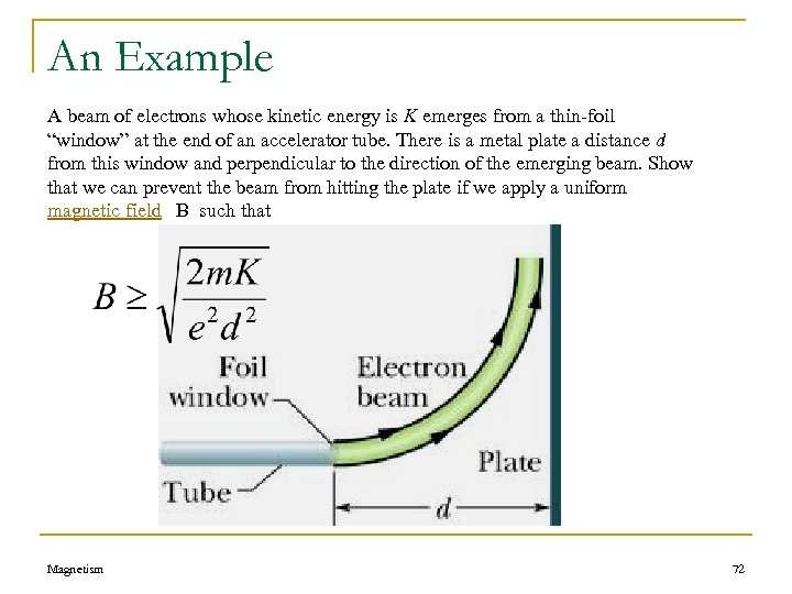 An Example A beam of electrons whose kinetic energy is K emerges from a