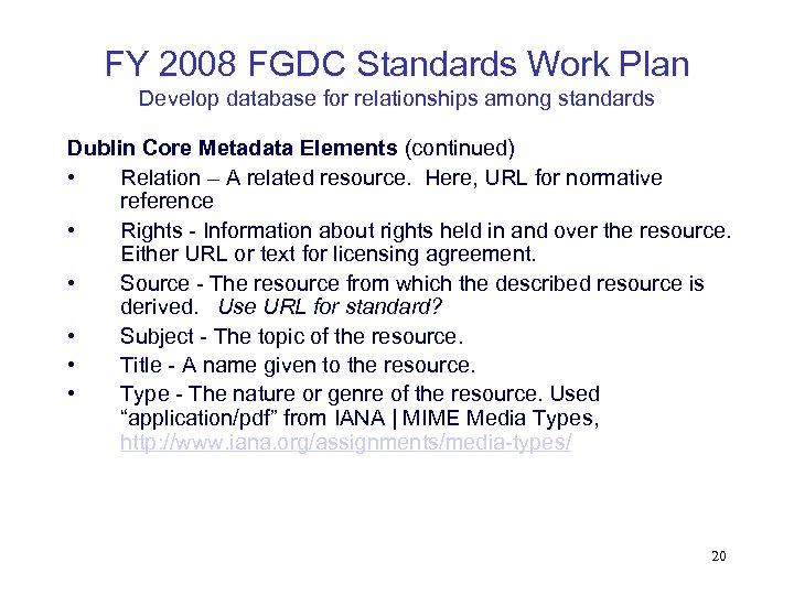 FY 2008 FGDC Standards Work Plan Develop database for relationships among standards Dublin Core