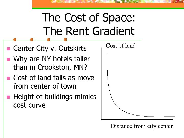 The Cost of Space: The Rent Gradient n n Center City v. Outskirts Why