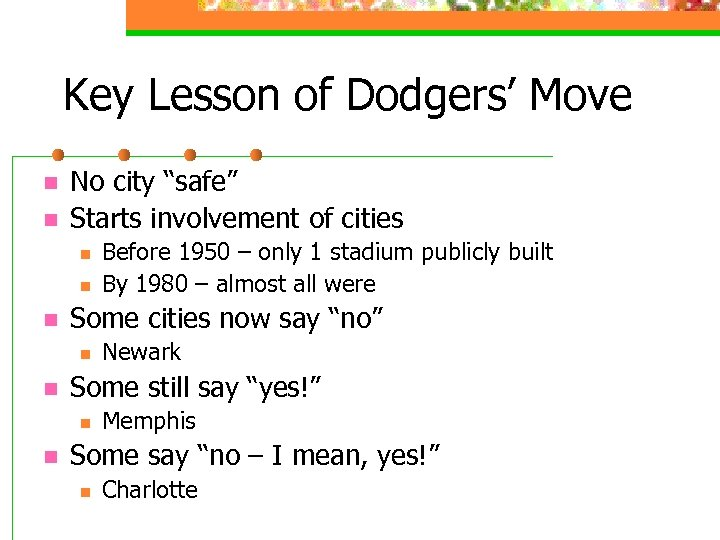 """Key Lesson of Dodgers' Move n n No city """"safe"""" Starts involvement of cities"""