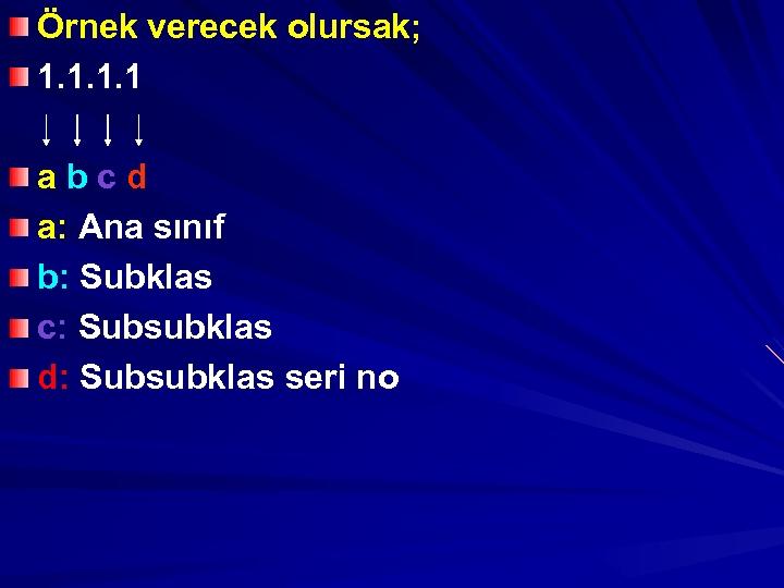 Örnek verecek olursak; 1. 1 abcd a: Ana sınıf b: Subklas c: Subsubklas d: