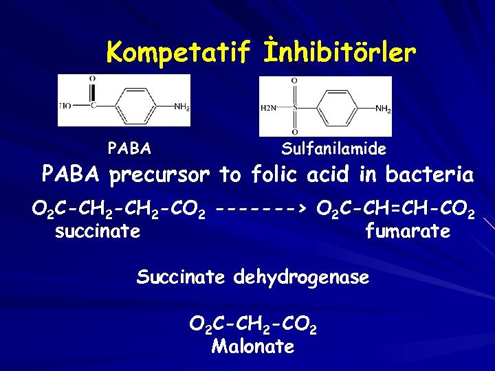 Kompetatif İnhibitörler PABA Sulfanilamide PABA precursor to folic acid in bacteria O 2 C-CH