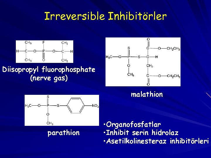 Irreversible Inhibitörler Diisopropyl fluorophosphate (nerve gas) malathion parathion • Organofosfatlar • Inhibit serin hidrolaz