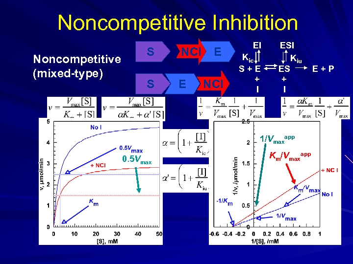 Noncompetitive Inhibition Noncompetitive (mixed-type) S S NCI E E NCI EI Kic S+E +