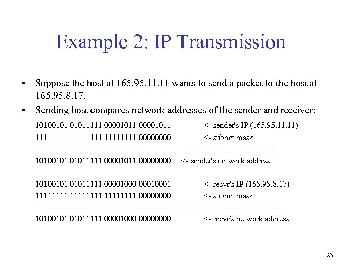 Example 2: IP Transmission • Suppose the host at 165. 95. 11 wants to