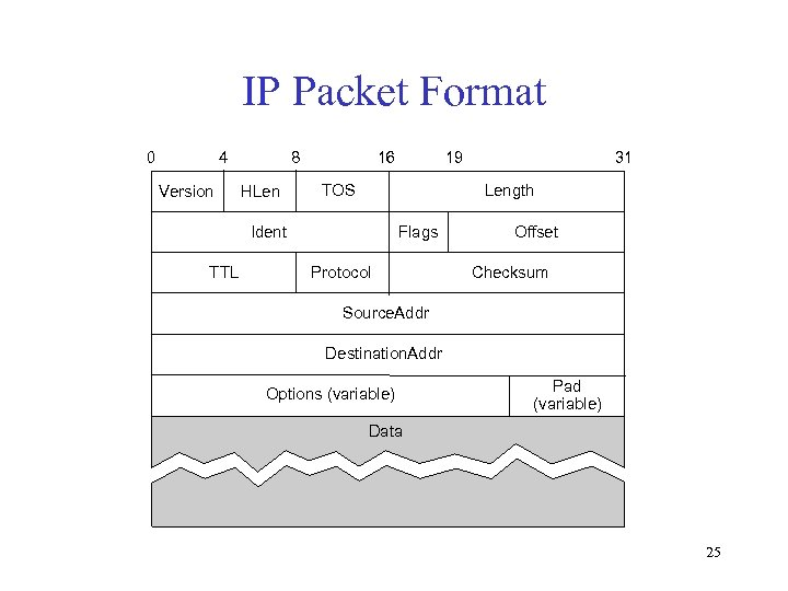 IP Packet Format 0 4 Version 8 HLen 16 TOS 31 Length Ident TTL