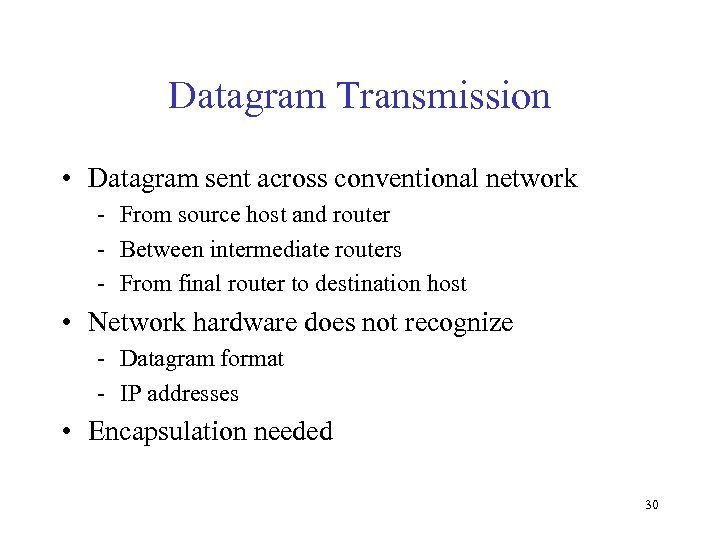 Datagram Transmission • Datagram sent across conventional network - From source host and router