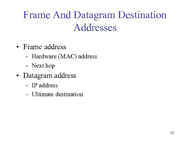 Frame And Datagram Destination Addresses • Frame address - Hardware (MAC) address - Next