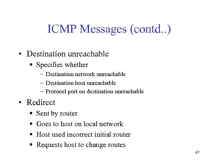 ICMP Messages (contd. . ) • Destination unreachable § Specifies whether – Destination network