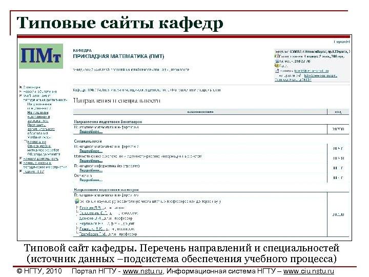 Типовые сайты кафедр Типовой сайт кафедры. Перечень направлений и специальностей (источник данных –подсистема обеспечения