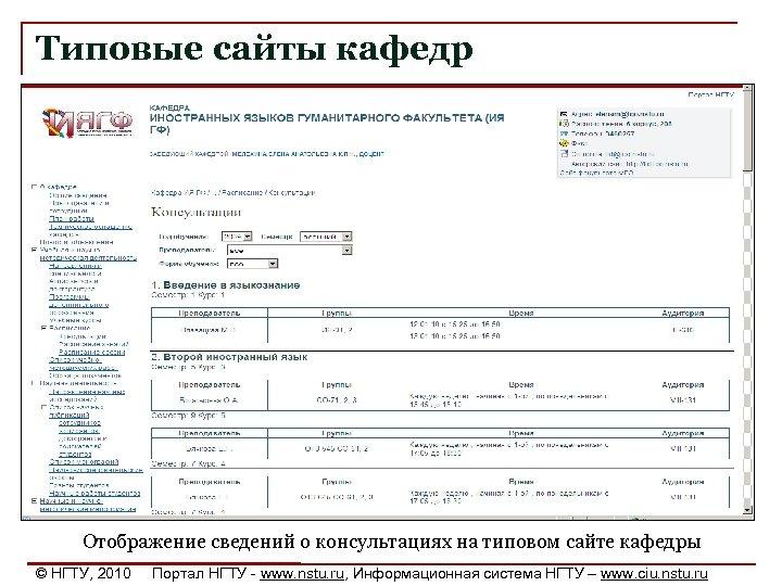 Типовые сайты кафедр Отображение сведений о консультациях на типовом сайте кафедры © НГТУ, 2010