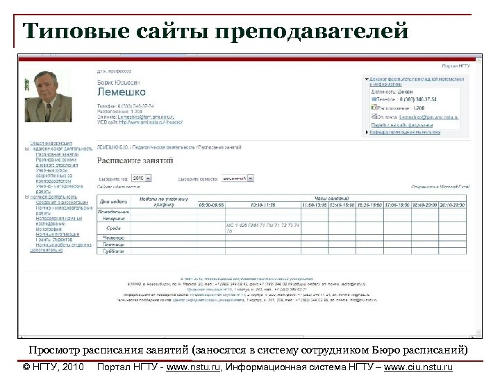 Типовые сайты преподавателей Просмотр расписания занятий (заносятся в систему сотрудником Бюро расписаний) © НГТУ,