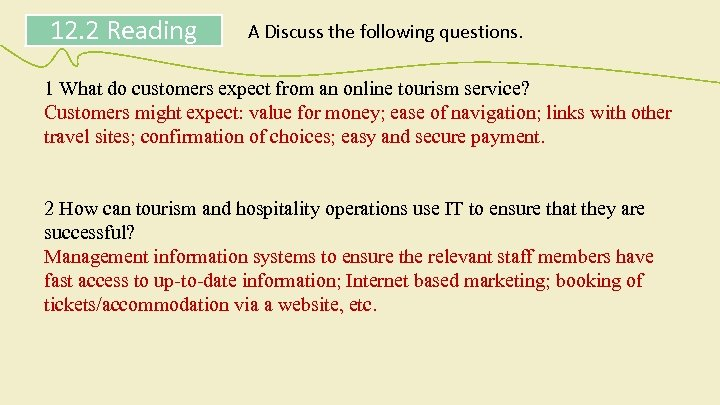 12. 2 Reading A Discuss the following questions. 1 What do customers expect from