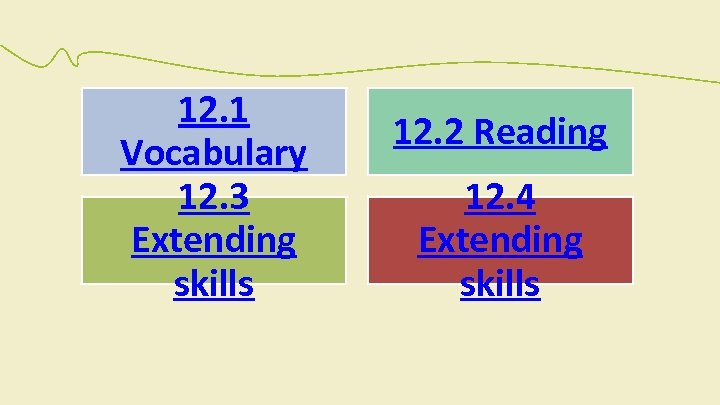12. 1 Vocabulary 12. 3 Extending skills 12. 2 Reading 12. 4 Extending skills