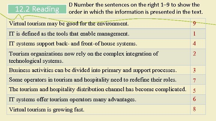 12. 2 Reading D Number the sentences on the right 1– 9 to show