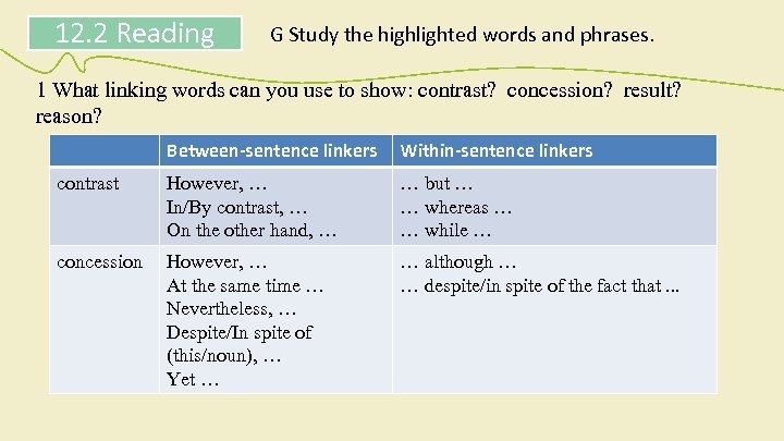 12. 2 Reading G Study the highlighted words and phrases. 1 What linking words