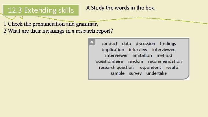 12. 3 Extending skills A Study the words in the box. 1 Check the