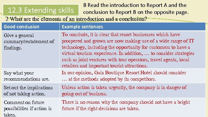 B Read the introduction to Report A and the 12. 3 Extending skills conclusion