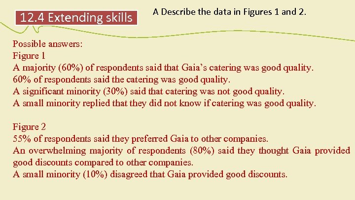 12. 4 Extending skills A Describe the data in Figures 1 and 2. Possible