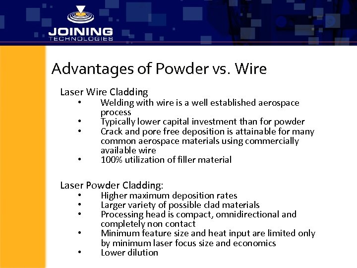 Advantages of Powder vs. Wire Laser Wire Cladding • • Welding with wire is