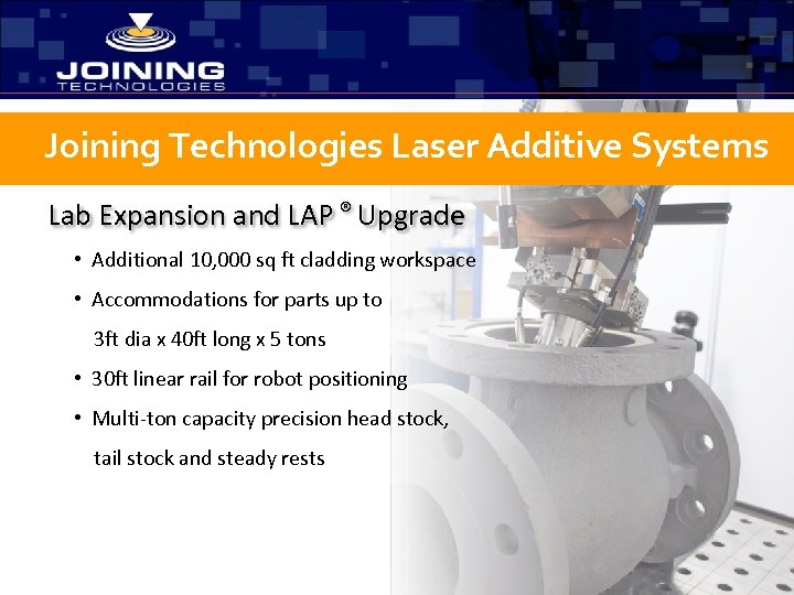 Joining Technologies Laser Additive Systems Lab Expansion and LAP ® Upgrade • Additional 10,
