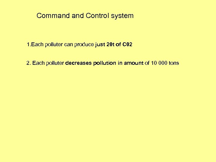 Command Control system 1. Each polluter can produce just 20 t of C 02