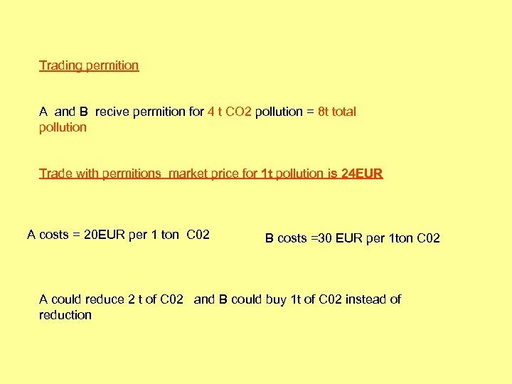 Trading permition A and B recive permition for 4 t CO 2 pollution =