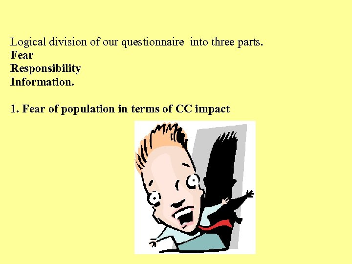 Logical division of our questionnaire into three parts. Fear Responsibility Information. 1. Fear of