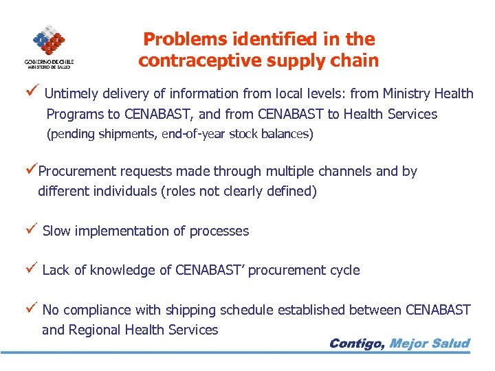Problems identified in the contraceptive supply chain ü Untimely delivery of information from local