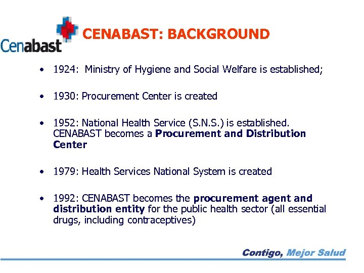 CENABAST: BACKGROUND • 1924: Ministry of Hygiene and Social Welfare is established; • 1930: