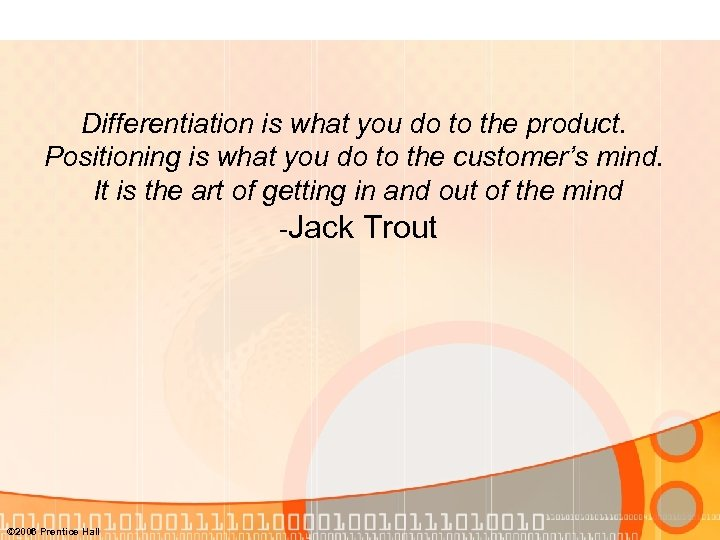 Differentiation is what you do to the product. Positioning is what you do to