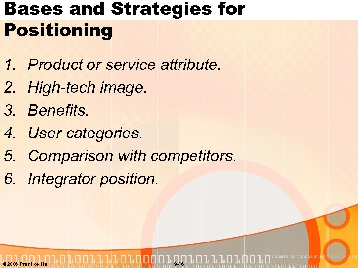 Bases and Strategies for Positioning 1. 2. 3. 4. 5. 6. Product or service