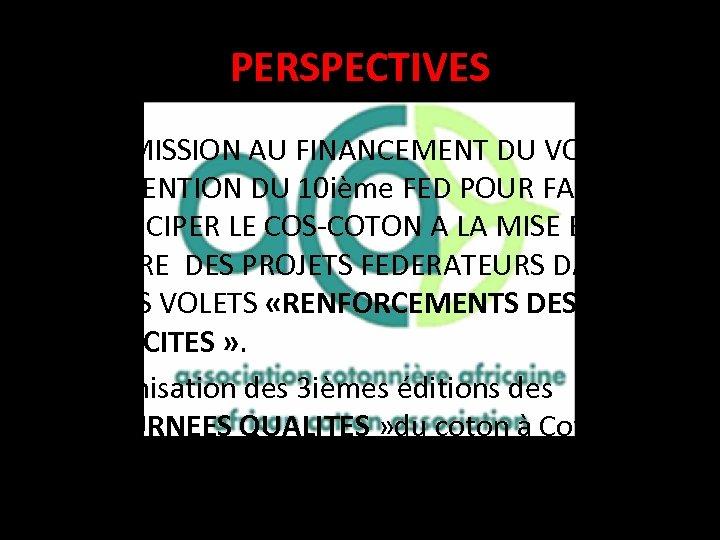 PERSPECTIVES • SOUMISSION AU FINANCEMENT DU VOLET SUBVENTION DU 10 ième FED POUR FAIRE