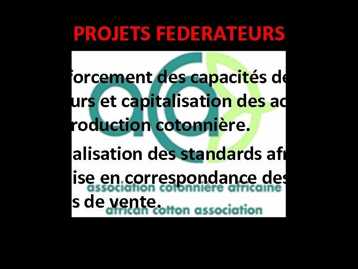 PROJETS FEDERATEURS • Renforcement des capacités des acteurs et capitalisation des acquis en production