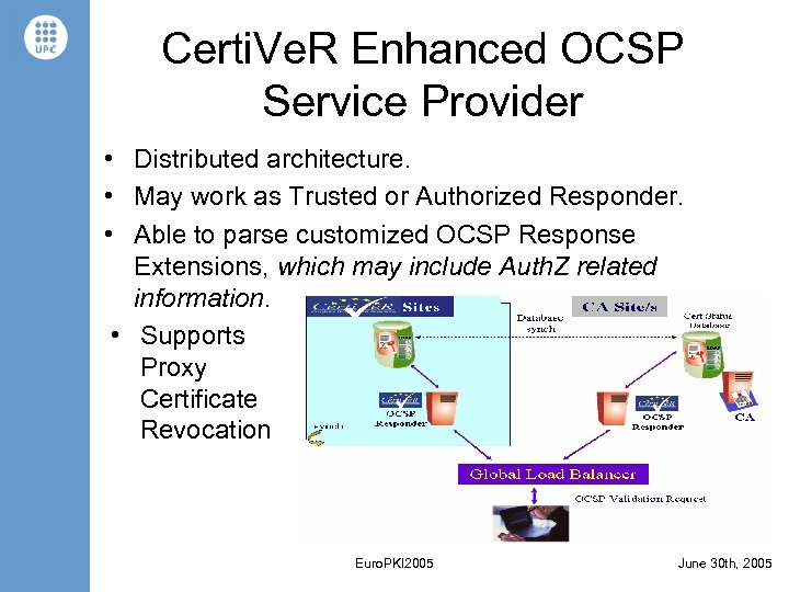 Certi. Ve. R Enhanced OCSP Service Provider • Distributed architecture. • May work as