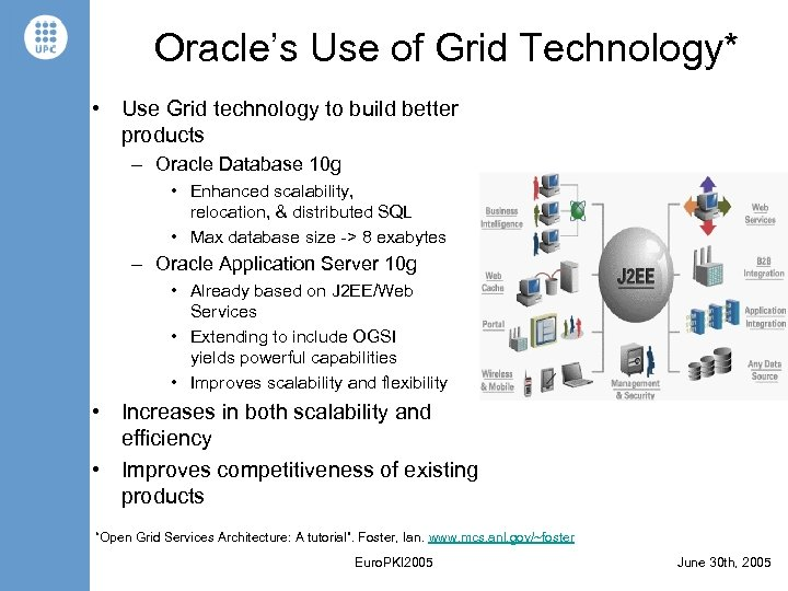 Oracle's Use of Grid Technology* • Use Grid technology to build better products –