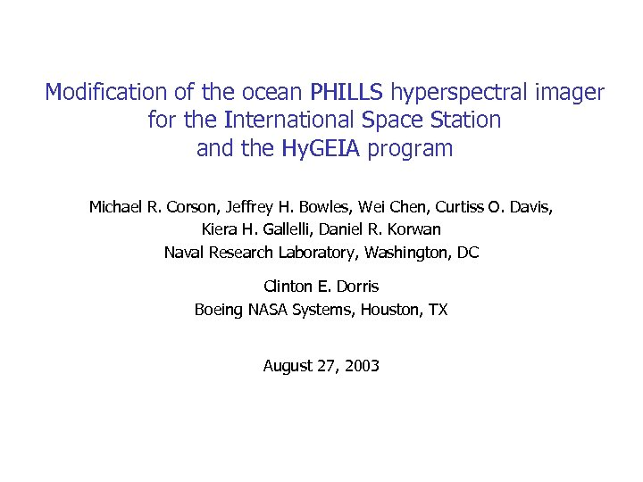 Modification of the ocean PHILLS hyperspectral imager for