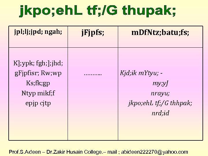 jpl; lj; jpd; ngah; K]; ypk; fgh; ]; jhd; g. Fjpfisr; Rw; wp Ks;
