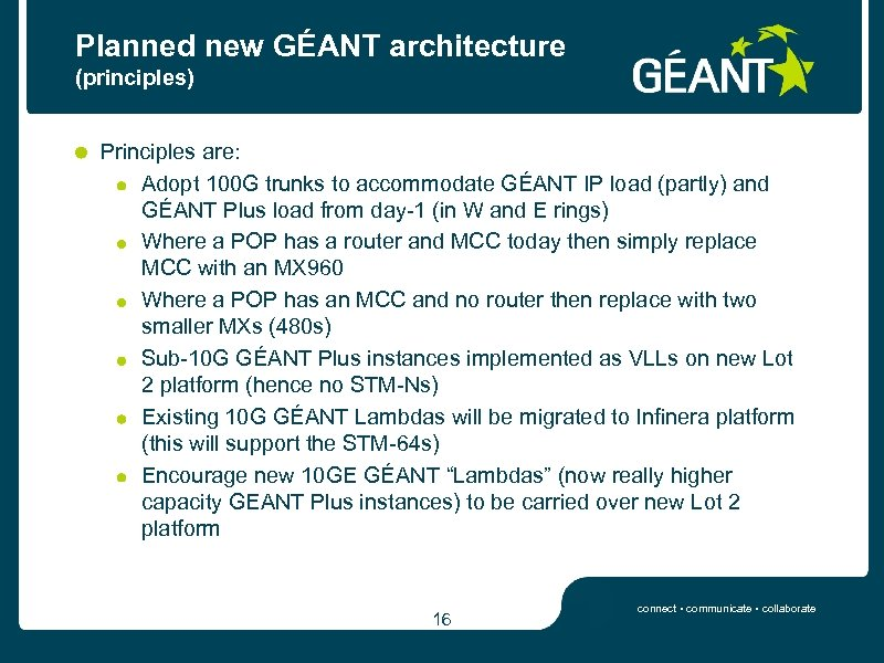 Planned new GÉANT architecture (principles) Principles are: Adopt 100 G trunks to accommodate GÉANT