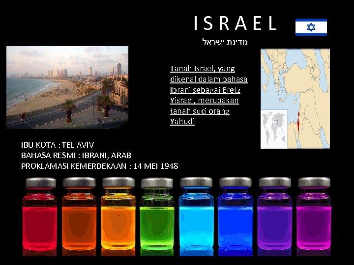 ISRAEL מדינת ישראל Tanah Israel, yang dikenal dalam bahasa Ibrani sebagai Eretz Yisrael, merupakan