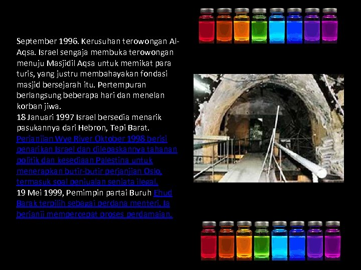 September 1996. Kerusuhan terowongan Al. Aqsa. Israel sengaja membuka terowongan menuju Masjidil Aqsa untuk