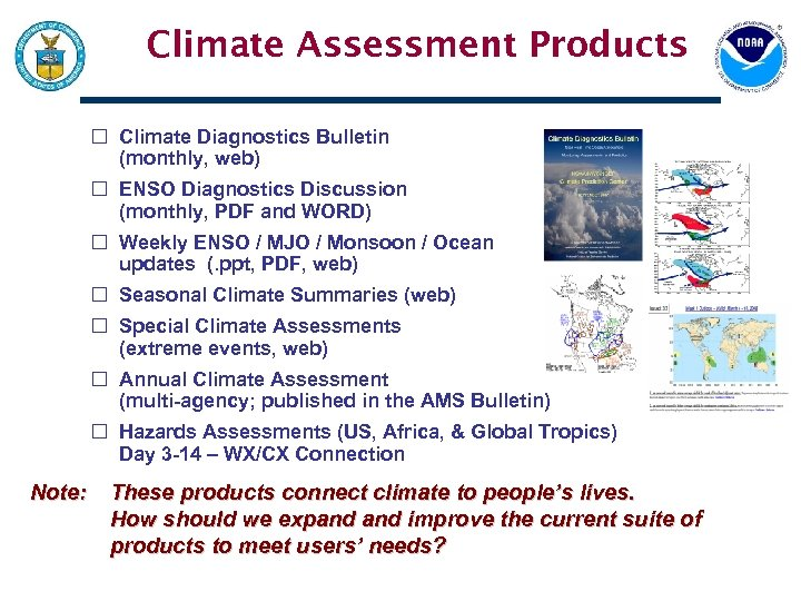 Climate Assessment Products Climate Diagnostics Bulletin (monthly, web) ENSO Diagnostics Discussion (monthly, PDF and