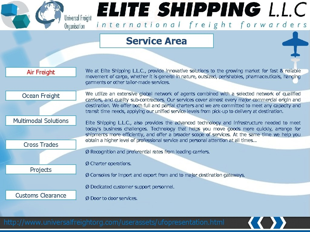 NETWORK AND COVERAGE Service Area Air Freight We at Elite Shipping L. L. C.