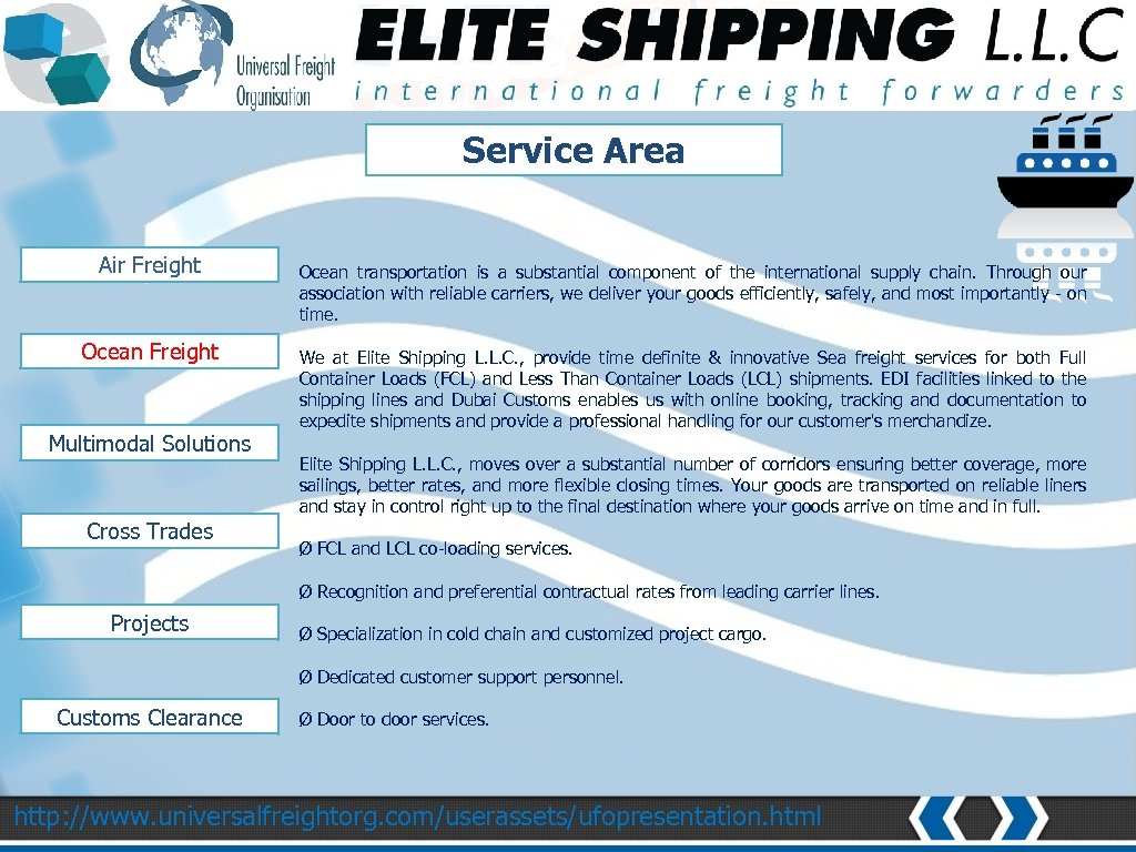 NETWORK AND COVERAGE Service Area Air Freight Ocean Freight Multimodal Solutions Cross Trades Ocean