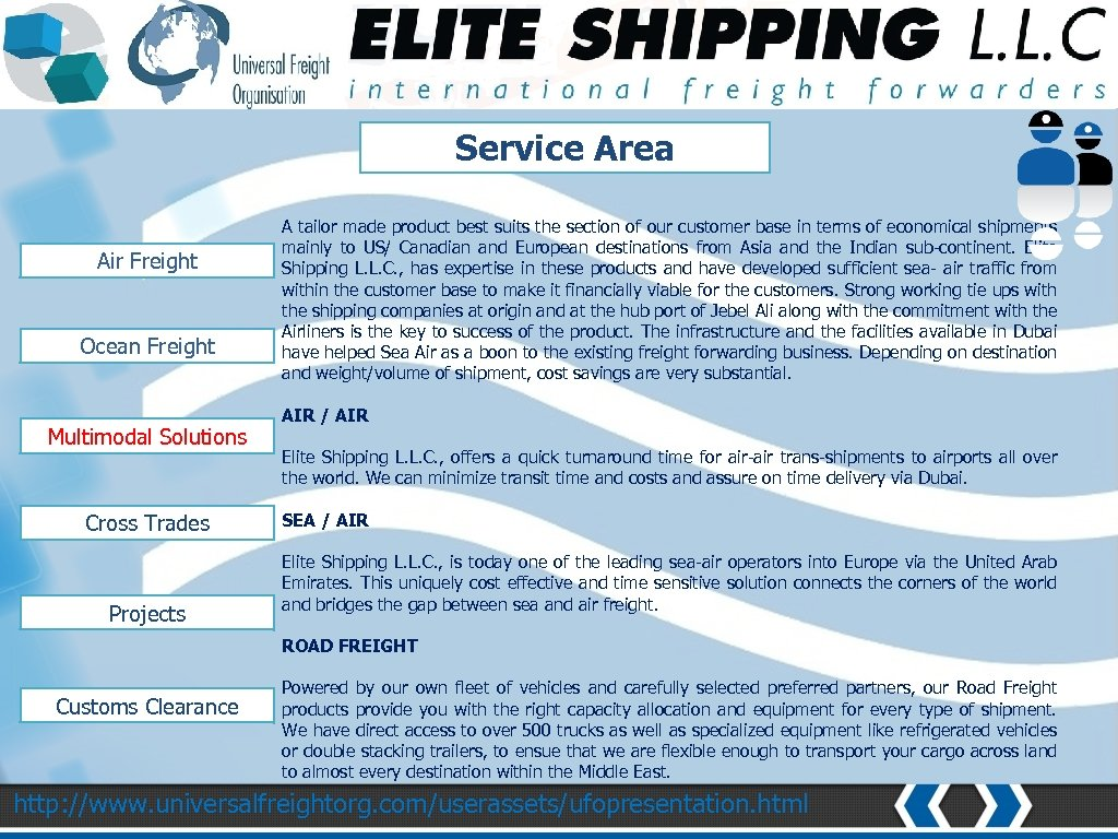 NETWORK AND COVERAGE Service Area Air Freight Ocean Freight Multimodal Solutions Cross Trades Projects