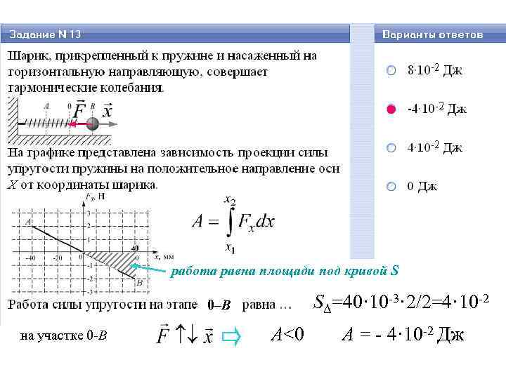 40 работа равна площади под кривой S SΔ=40· 10 -3· 2/2=4· 10 -2 0–В