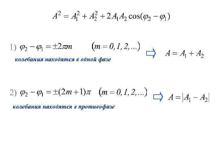 1) колебания находятся в одной фазе 2) колебания находятся в противофазе
